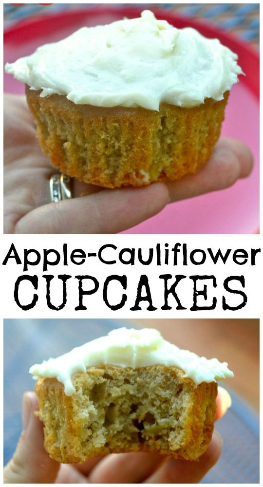 Apple-Cauliflower Cupcakes.  Hidden vegetables & they taste amazing!