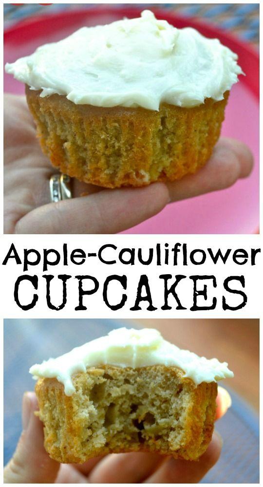 Apple-Cauliflower Cupcakes. Hidden vegetables & they taste amazing! Veganise!