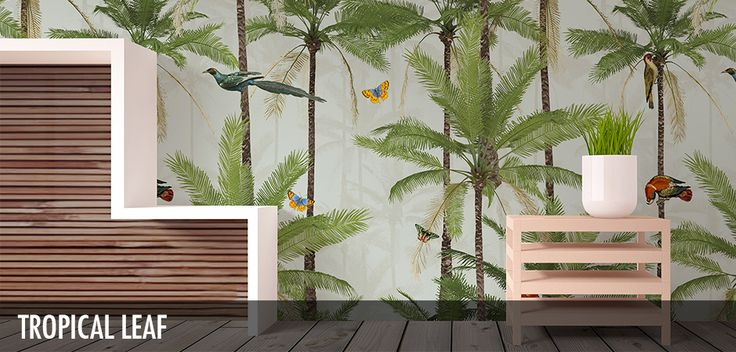 Tropical Leaf - Robin Sprong Surface Designer. A brand new range by our Senior Designer, Franco Moz. It encapsulates the strong botanical atmosphere of a summer paradise -and as a wallpaper or stretched canvas- is able to truly bring the outdoors into your modern day home decor.
