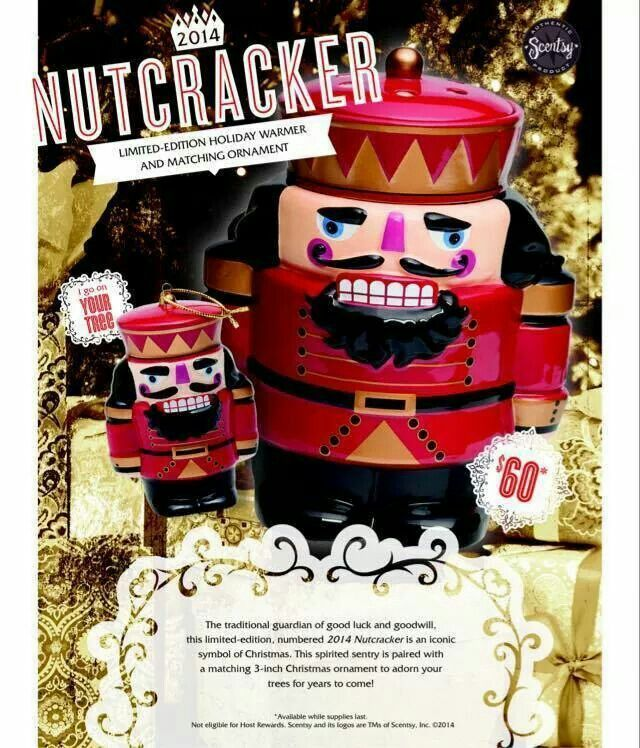 Limited edition nutcracker warmer with ornament.  Love it. Order yours today Www.kinnerkpetra.scentsy.us