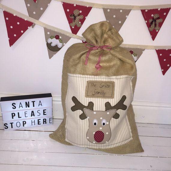 Personalised Hessian Christmas Sack by emilybowendesigns on Etsy