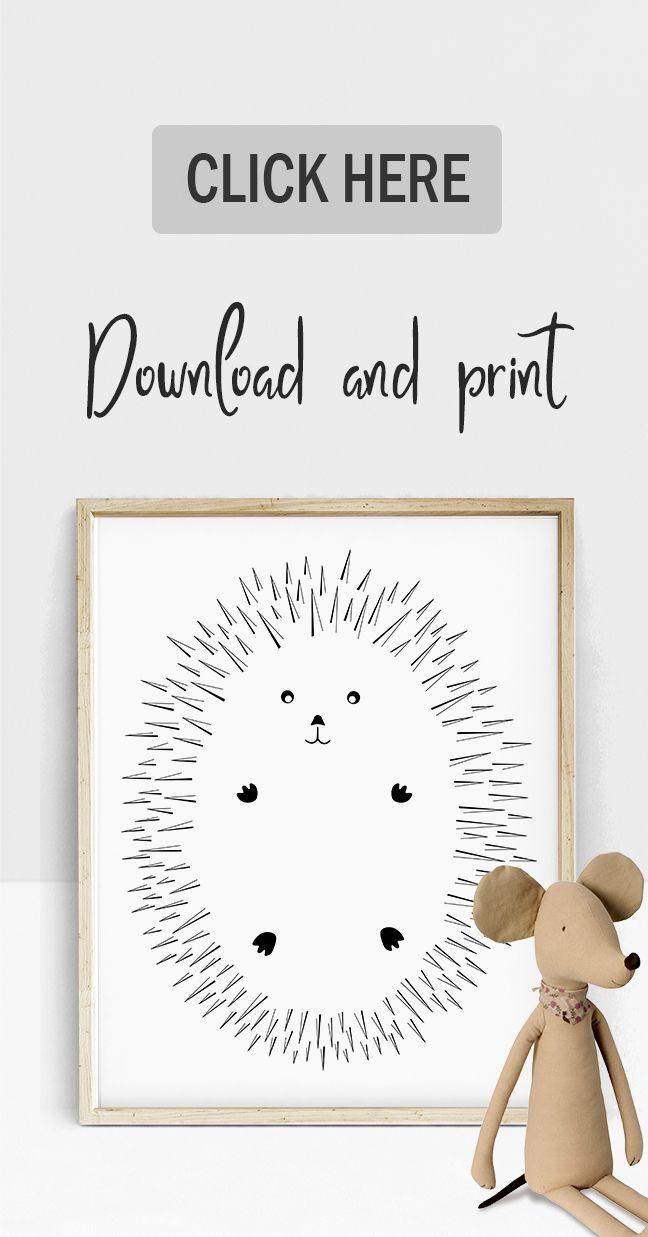 HEDGEHOG Print, Line Drawing Print, Black and White Nursery Wall Art, Animal Baby Poster, Kids Wall