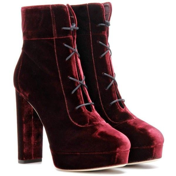 Jimmy Choo Deon 120 Velvet Ankle Boots found on Polyvore featuring shoes, boots, ankle booties, red, red bootie, jimmy choo, red booties, velvet booties and red velvet boots