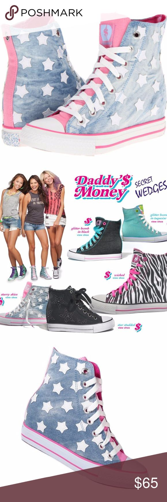 DADDYS MONEY **Starry Sky ** PRINT SECRET WEDGE $ SKETCHERS**DADDY'S MONEY Starry PRINT SECRET WEDGE  ***NEW IN BOX****NEVER WORN Great Present for Christmas or a present for you~* :) SUPER CUTE!!  High top fashion sport wedge sneakers.  Cool , eye catching Starry Sky print!  Brand:SkechersColor: Soft Pastel US Shoe Size (Women's):8Heel Type:Wedge Style:Fashion sneakersPattern: Soft Denim And Stars Material:CanvasFastening:Lace Up Heel Height:Med (1 3/4 in. to 2 3/4 in.) Shoes…