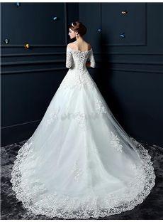 2016 新品 袖付きオフショルダー 高級レースの綺麗目 豪華ウェデングドレス 花嫁ドレス 結婚式ドレス