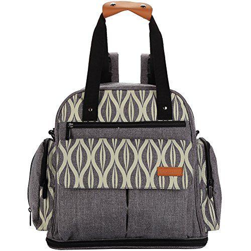 lekebaby Baby Wickeltasche Rucksack mit Wickelunterlage Unisex für Mom und Dad, grau - Wickeltasche Kaufen