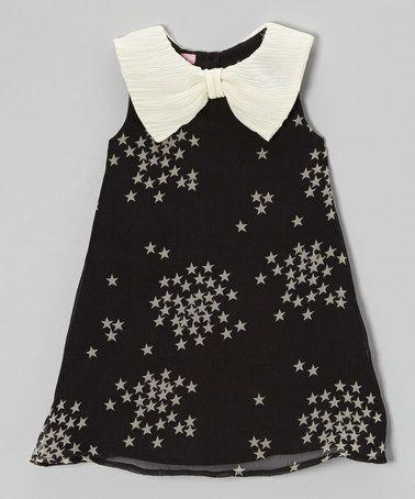 Love this Black & Cream Starry Bow Collar Dress - Toddler & Girls on #zulily! #zulilyfinds