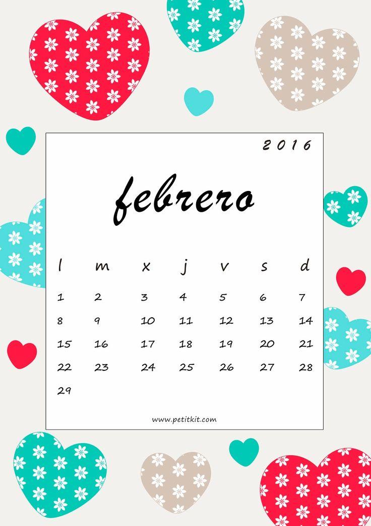 Petit Kit: Calendario febrero 2016: imprimible y fondo de pantalla gratis