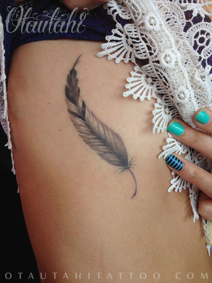 otautahi tattoo queenstown healed feather tattoo ribs black and white grey feminine female tattoo design nathan dewar