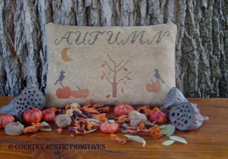 Primitive Autumn Pinkeep Stitchery-Sampler Cross Stitch E Pattern PDF. $7.00, via Etsy.
