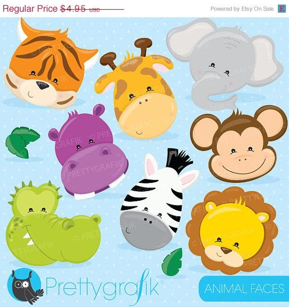 80% OFF SALE Jungle Animals faces clipart commercial use, animals faces vector graphics, digital clip art, digital images - CL719