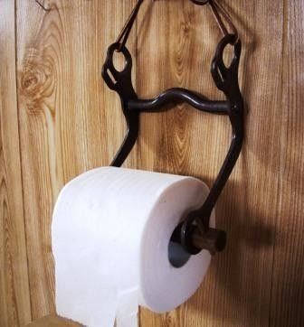 Bathroom toilet paper holder horse bit