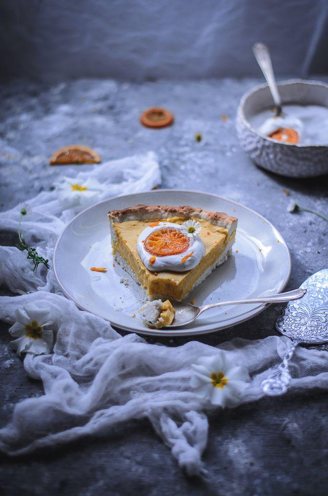 Orange vanilla tart with coconut crust GF