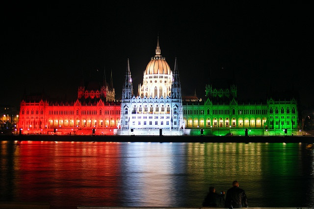 Parlament flag lighting in Budapest