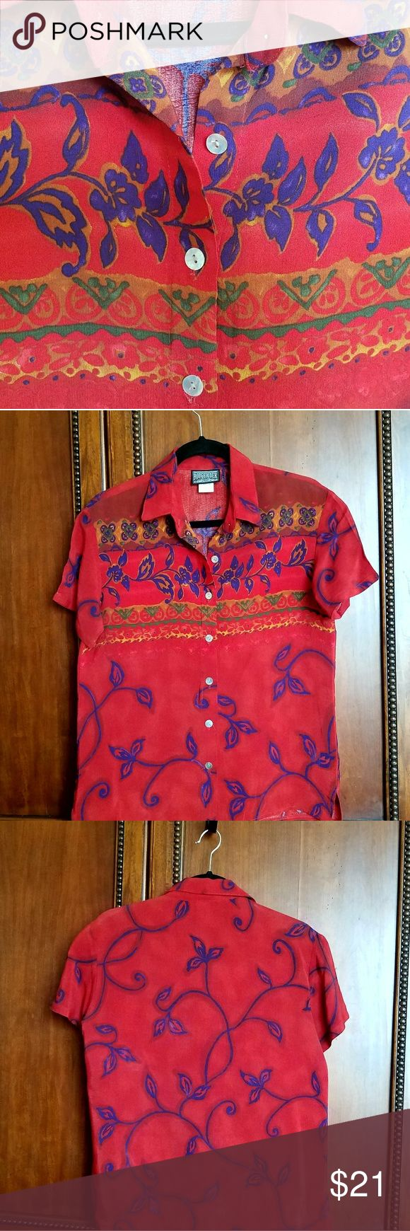 Flowy Rayon Scrollwork Blouse This is classy, vintage western wear made of 100% rayon - drapes effortlessly on the body. The blouse is red with blue swirls & touches of green & palomino. Shell buttons, side slits.  Timeless, this beautiful blouse deserves a new wearer who will also appreciate its versatility!  I dressed this blouse up for the office with a navy pencil skirt, Brighton belt & classic pumps. I dressed it down for rodeo & casual events with blue jeans, a belt with a Montana…