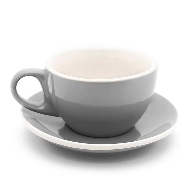 Wonderful 6oz Cappuccino Cups W/ Saucers Gray U0026 White Cafe Style   Set Of 6 Great Ideas