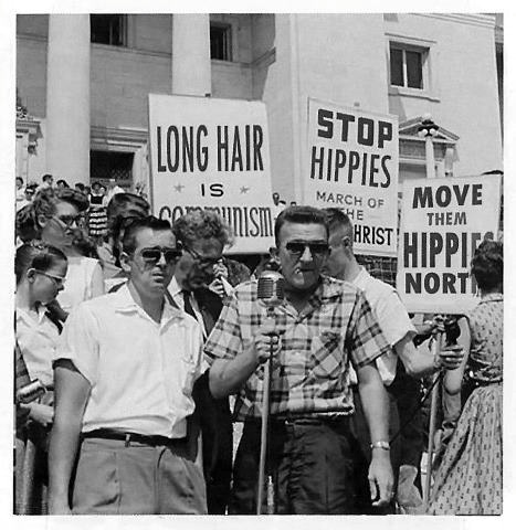 """Rally against hippies (1960s) -- """"MOVE THEM HIPPIES NORTH"""""""