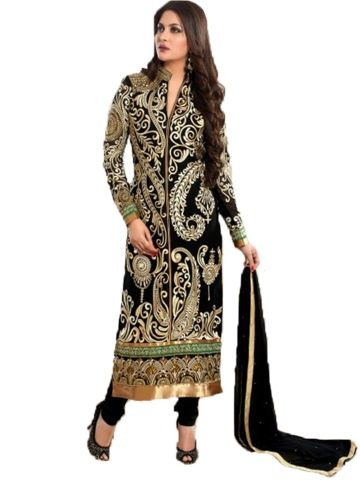 Fabric : Pure Georgette Neatly done Golden Embroidary makes its Royal and very Beautiful. Semi-stitched.