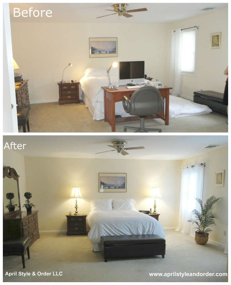 Master bedroom before staging and after home staging for Home staging before and after