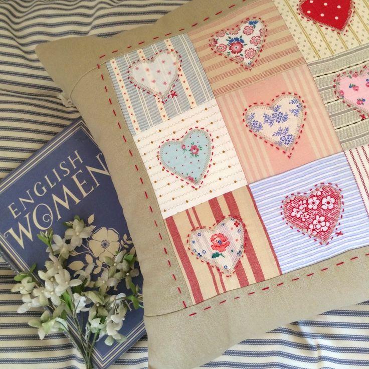 HenHouse: handmade appliqued heart cushion
