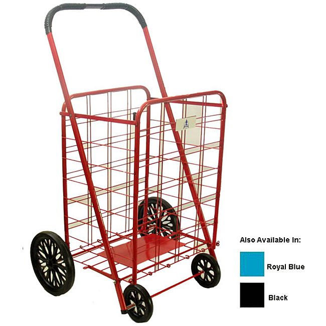 Shopping cart ideal for carrying groceries or laundryEasy-to-assemble personal shopping cart folds flat for storageShopping cart comes in royal blue, red and black color options