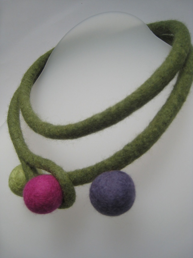 Green Felt Necklace