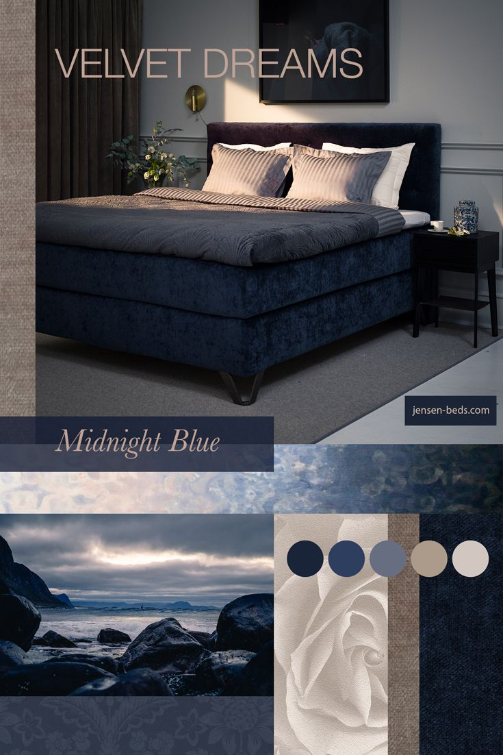Velvet dreams. Pamper yourself with a comfortable Scandinavian bed from http://jensen-beds.com/  We have a wide range of fabric to choose from, like this beautiful midnight blue velvet. Visit our website for more information. Photo: https://unsplash.com/ http://www.borge.no http://anettewillemine.com/