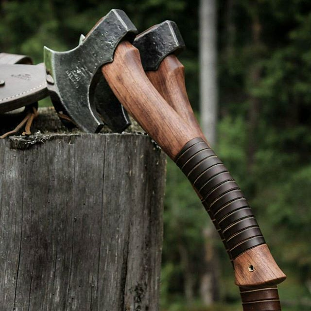 Leather Laced Wooden Grip Double Hatchets