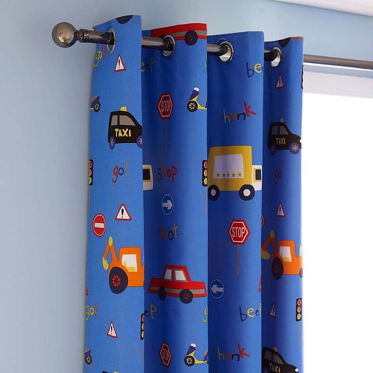 Transport Blue Blackout Eyelet Curtains | Dunelm