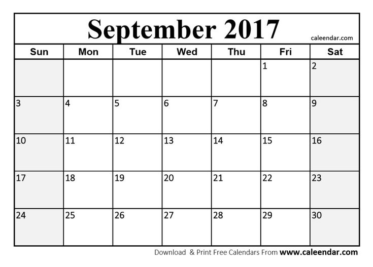 September 2017 Calendar Printable Template With Holidays PDF