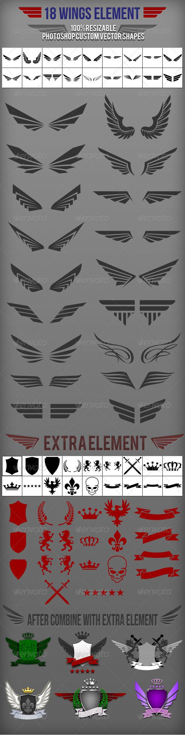 18 Wings Photoshop Custom Shapes 18 unique wings element with 18 extra element…
