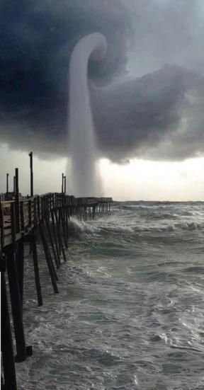 Waterspout (water tornado) in Nag's Head North Carolina, USA