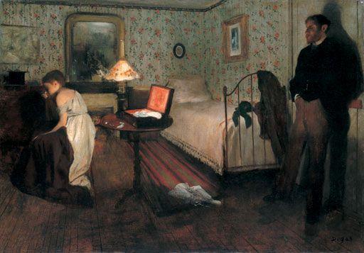 """Edgar Degas, 'Interior (Le Viol)', 1868-1869, oil on canvas. Philadelphia Museum of Art, Philadelphia. """"MRFSIEND GFSBIR !!!!!!!"""". """"Oui, Madame, mon mari veut que je raccroche, je, je ... suis désolée......"""" Tut, tut, tut.."""