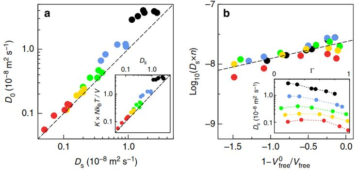 Figure 4 | Mass transport and diffusion: towards a free volume theory. (a) Comparison of the self (Ds) and collective (D0) diffusion. Inset: Scaling of the permeance K with the self-diffusion. (b) Rescaled diffusion coefficient Dsxn, with the alkane length n, versus the free volume fraction Vfree /V0. Authors: Kerstin Falk, Benoit Coasne, Roland Pellenq, Franz-Josef Ulm & Lyderic Bocquet.