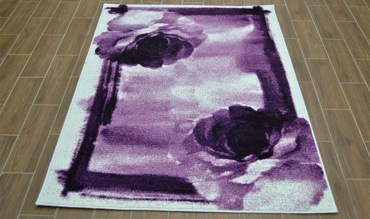 Tappeto disegno floreale color lavanda