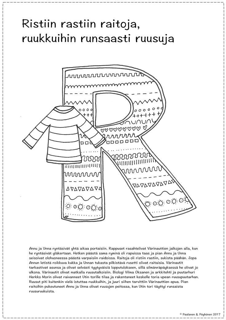R-kirjain, tarina ja värityskuva
