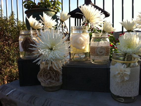 rustic wedding decor 15 bulk burlap lace mason jars for head table decor wedding