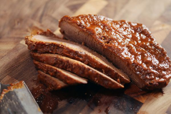 Barbecued brisket  Traditional dishes usually take time. With today's busy life, you can still make a traditional dish, but using a nice shortcut. This is one easy, tasty recipe!