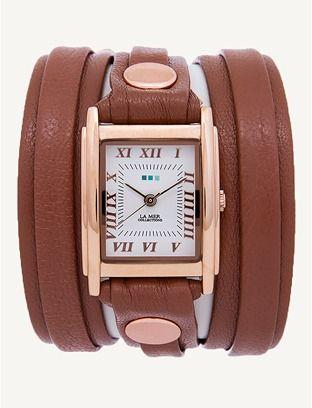 La Mer Cognac Rose Gold Layer Wrap Watch.