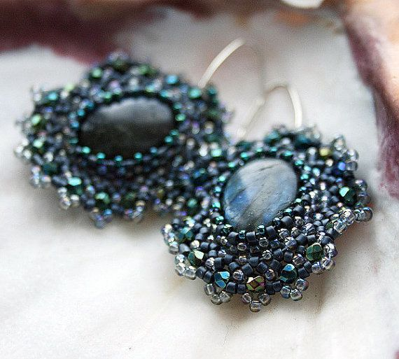 labradorite earrings seed beads earrings gemstone by koralikowyraj