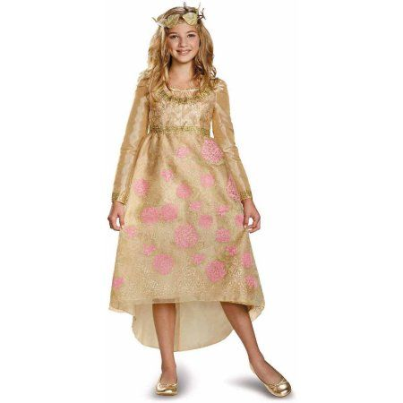 Maleficent Aurora Coronation Deluxe Girls' Child Halloween Costume, Size: Medium, Gold