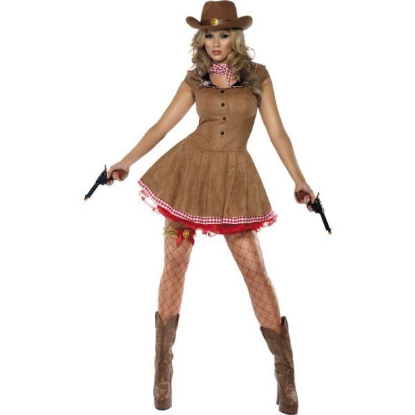 guenstige faschingskostüme damen cowboy kleid lederstiefel