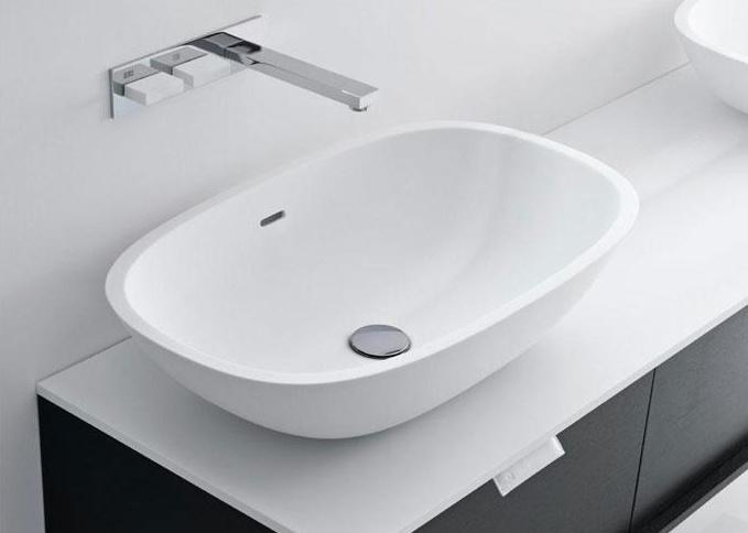 lavabo ovale soprapiano in cristalplant scoop above. Black Bedroom Furniture Sets. Home Design Ideas