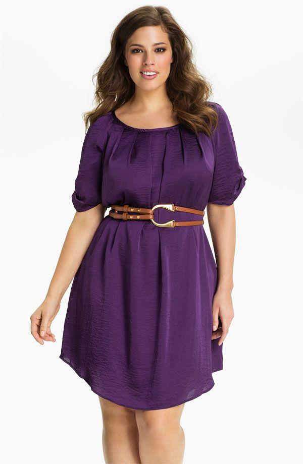 Jessica Simpson Belted Scoop Neck Dress (Plus)