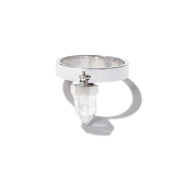 Dreamland drop crystal ring - silver | $89. Fine ring crafted in .925 sterling silver with a drop dangle clear quartz crystal stone detail. Shop now: http://www.savethelastpinker.com.au/shop/dreamland-drop-crystal-ring-silver/