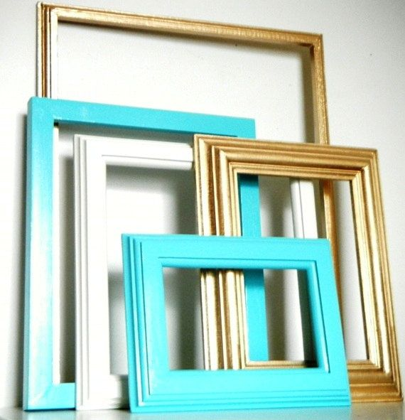 Beachy Chic Gold and Turquoise Blue Wall Frame by CityGirlsDecor