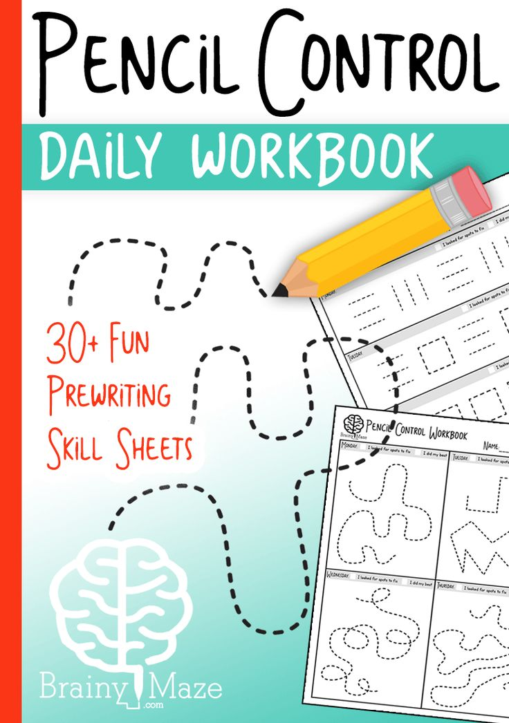 Pencil Control Daily Workbook. 30+ Skill Sheets for students to build prewriting skills.  Students practice strokes and squiggles, pictures, and mazes!  This is a fun set for Tots and PreK via @CraftyClassroom