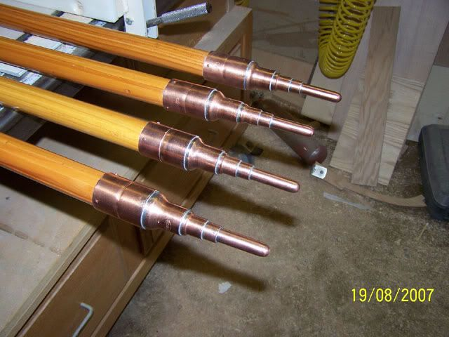 Wood Awning Poles With Plumbing Stub Outs Finials