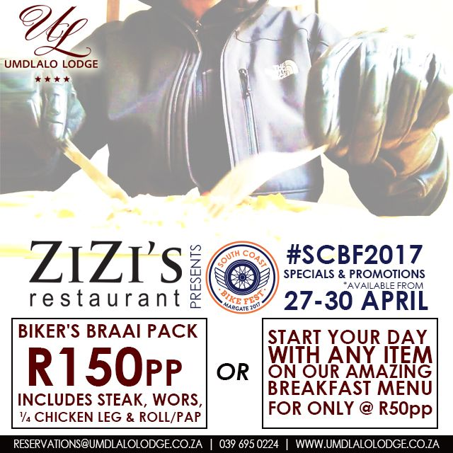 Please note the #specials & #promotions we are running for the @SCbikefest weekend ONLY!  #KZNsouthcoast #SCBF2017