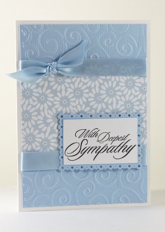 Sympathy Handmade Card / With Deepest Sympathy Card / Condolences Card / Blue, White / Flowers